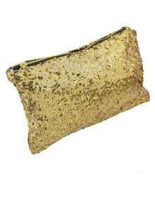 Gold Sequined Zipper Clutch Bag -SheIn(Sheinside)