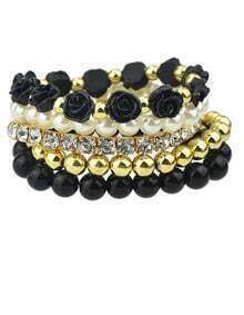 Black Multilayer Bead Flower Bracelet