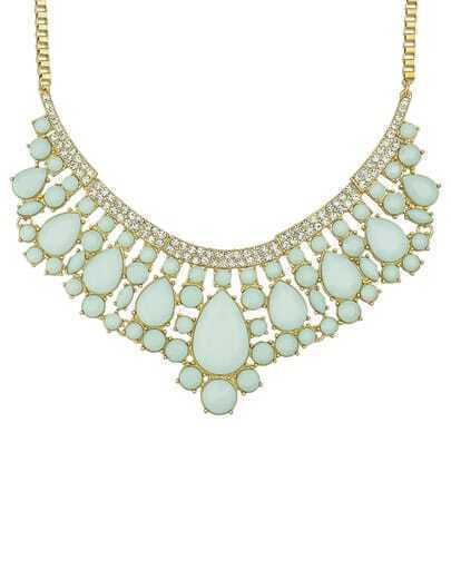 Green Gemstone Gold Collar Necklace