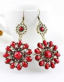 Red Gemstone Dangle Earrings