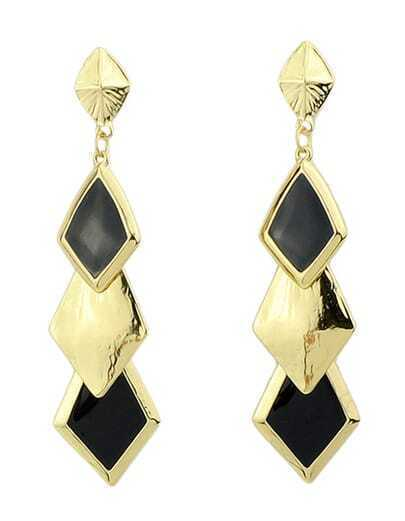 Black Glaze Gold Geometric Earrings