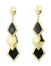 Black Glaze Gold Geometric Earrings