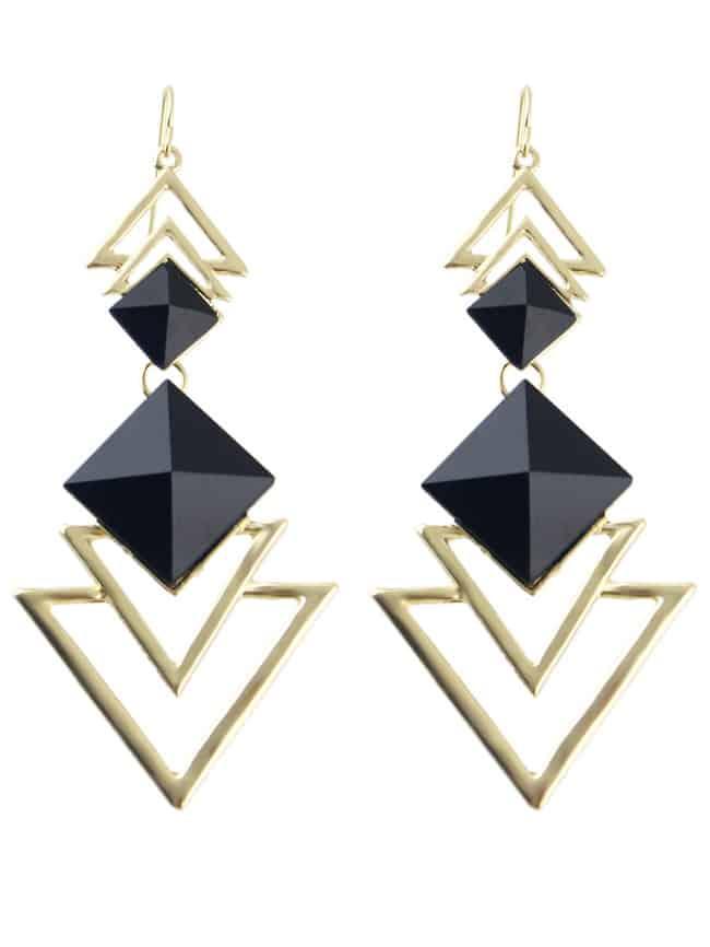 Black Gemstone Hollow Dangle Earrings