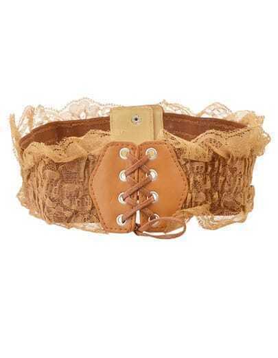yellow lace drawstring wide belt shein sheinside