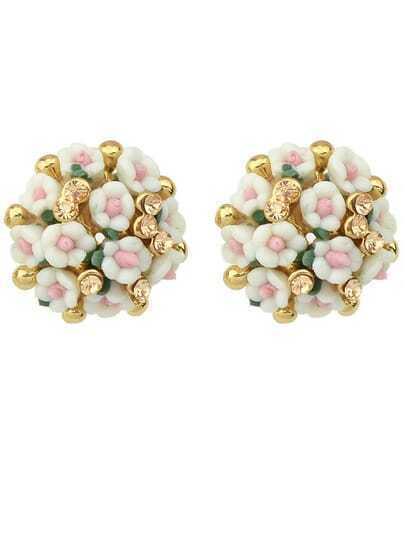 White Flowers Diamond Earrings