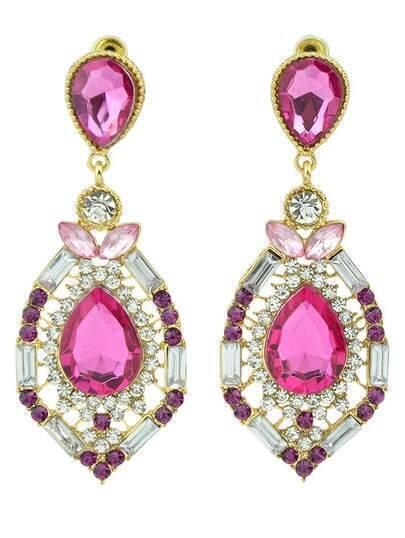 Red Drop Gemstone Hollow Earrings