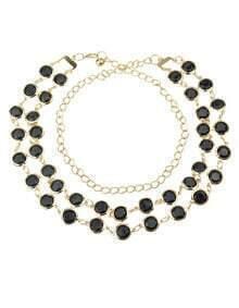 Black Gemstone Gold Chain Belt