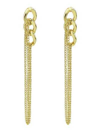 Gold Chain Tassel Earrings