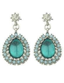 Green Drop Gemstone Bead Earrings