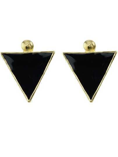 Black Glaze Gold Triangle Earrings
