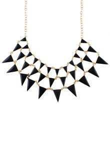 Black Gemstone Triangle Chain Necklace