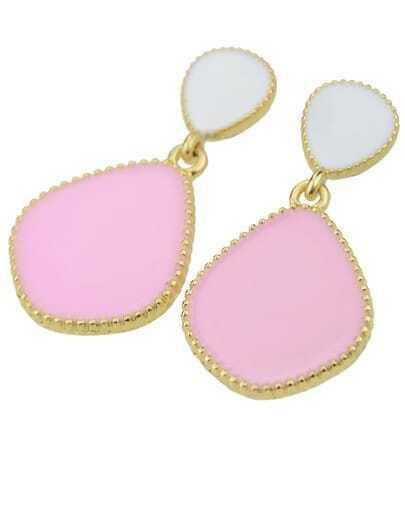 Pink Glaze Gold Drop Earrings