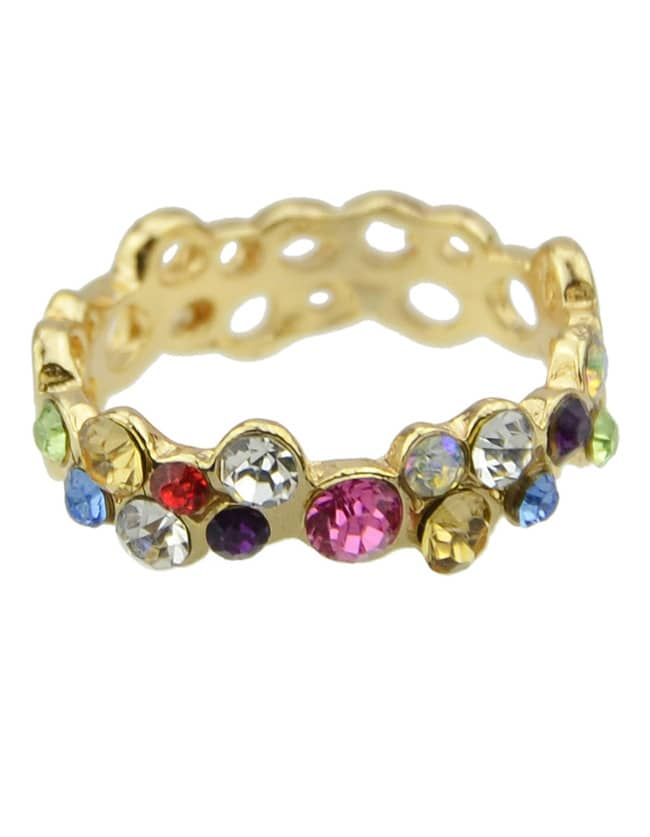 Multicolor Gemstone Gold Hollow Ring