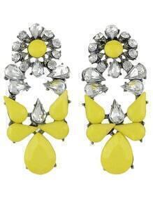 Yellow White Drop Gemstone Earrings