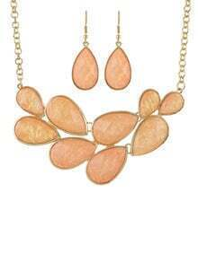 Orange Gemstone Necklace With Earrings