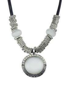 Silver Diamond Round Gemstone Necklace