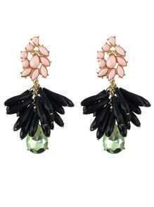 Black Drop Gemstone Tassel Gold Earrings