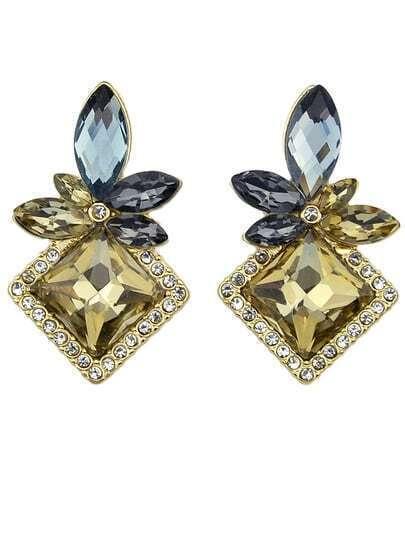 Coffee Diamond Gold Geometric Earrings