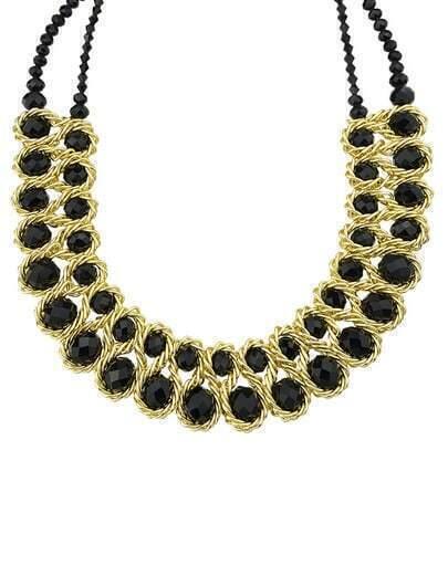 collier en chaîne orné de gemme -Noir