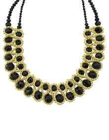 Black Gemstone Gold Chain Necklace