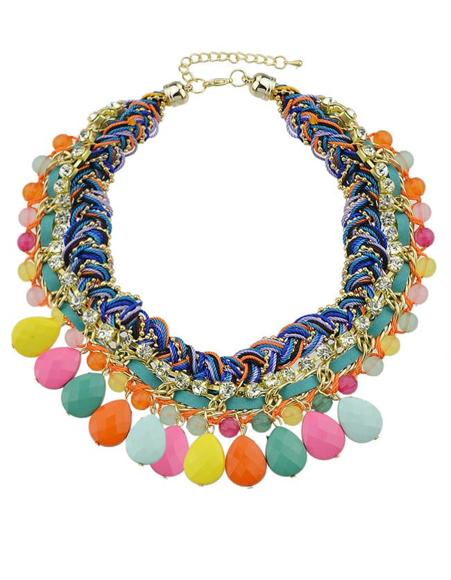 multicolor gemstone tassel necklace shein sheinside