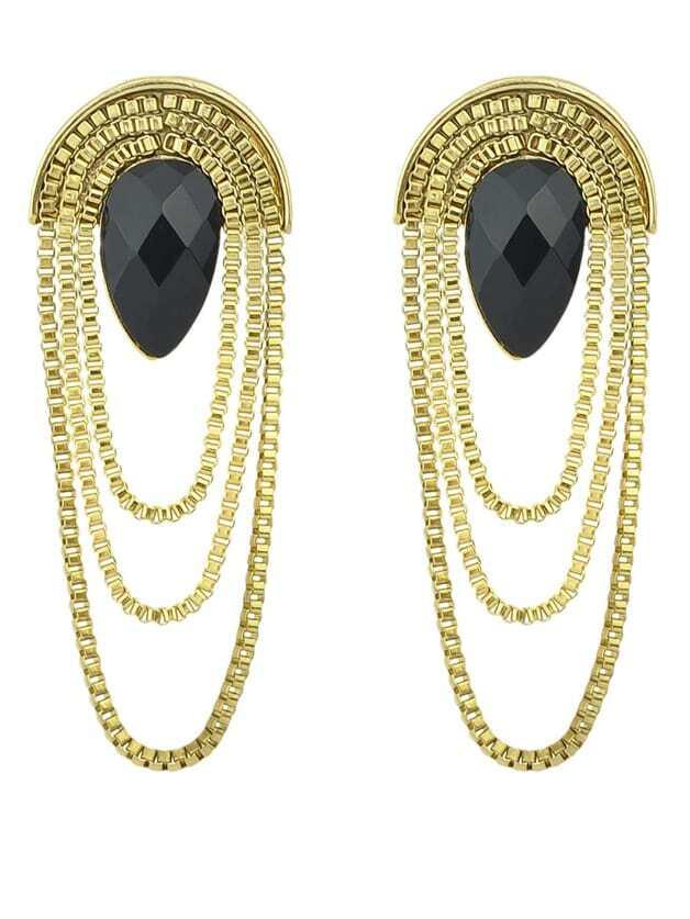 Black Drop Gemstone Gold Chain Earrings