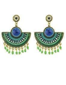 Green Bead Tassel Earrings