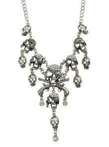 Silver Diamond Skull Chain Necklace