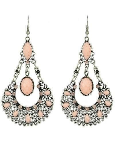 Pink Gemstone Hollow Dangle Earrings