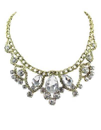 Collier incrusté de diamants en chaîne -doré