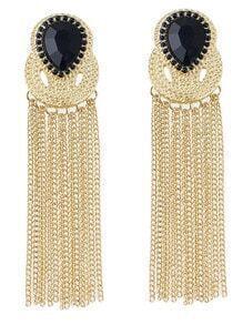 Black Gemstone Chain Tassel Earrings