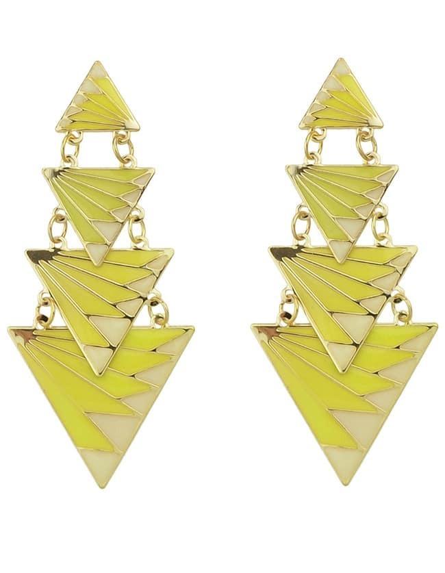 Фото Yellow Triangle Splice Earrings. Купить с доставкой