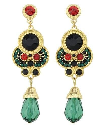Green Gemstone Gold Earrings
