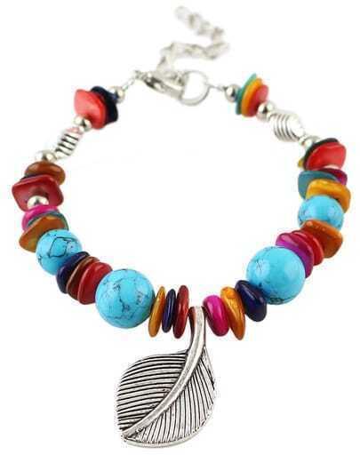 Blue Bead Leaf Bracelet