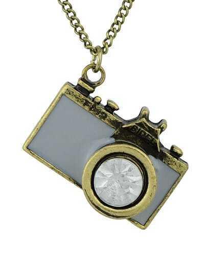 Gray Camera Pendant Necklace