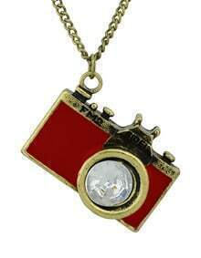Red Camera Pendant Necklace