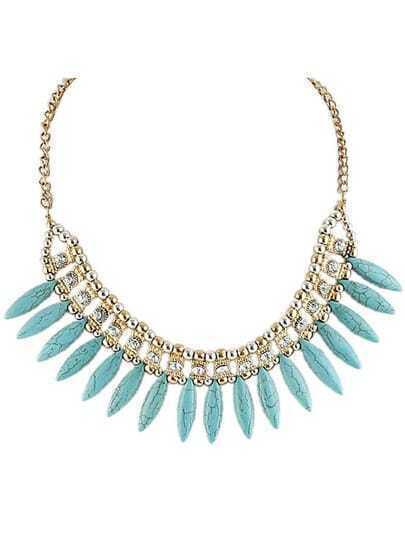 collier en chaîne diamant perles -bleu