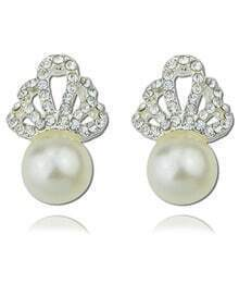 Silver Diamond Pearl Earrings