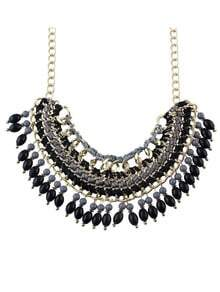 Black Bead Tassel Necklace