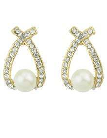 White Pearl Diamond Earrings