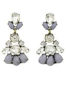 Grey White Gemstone Retro Gold Earrings