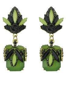 Green Gemstone Fashion Earrings