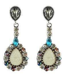White Drop Gemstone Earrings