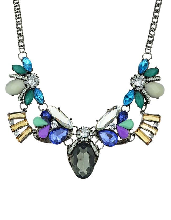 multicolor gemstone silver chain necklace shein sheinside