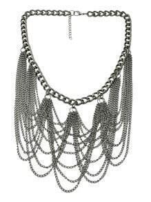 Silver Chain Tassel Necklace