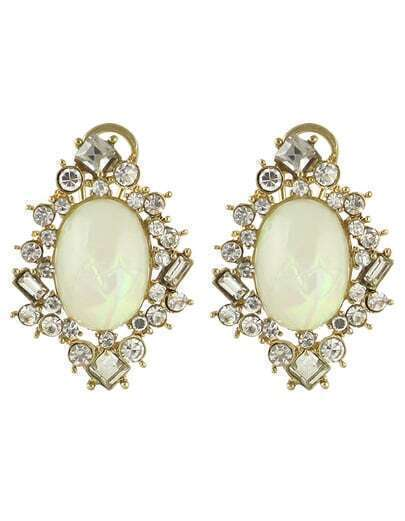 White Gemstone Diamond Earrings