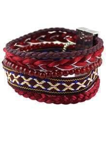 Red Plait Bead Link Bracelet
