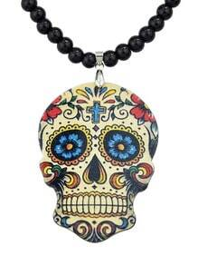Black Skull Bead Chain Necklace