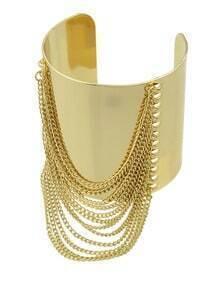 Gold With Tassel Cuff Bracelet