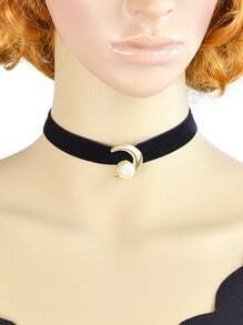 Velvet With Pearl Choker Necklace